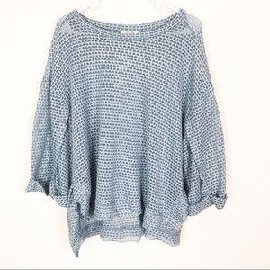 Umgee Oversized Fuzzy Raw Hem Sweater Dusty Blue L